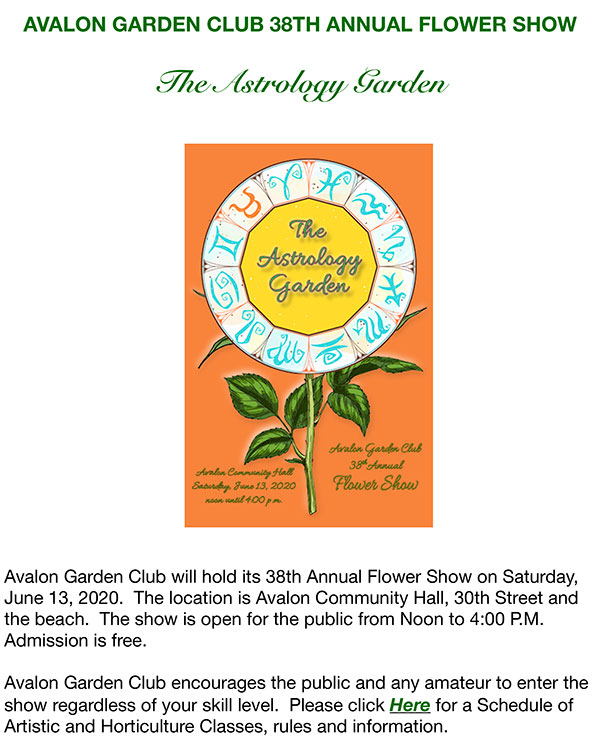 AVALON GARDEN CLUB 38TH ANNUAL FLOWER SHOW